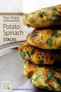potato spinach stack