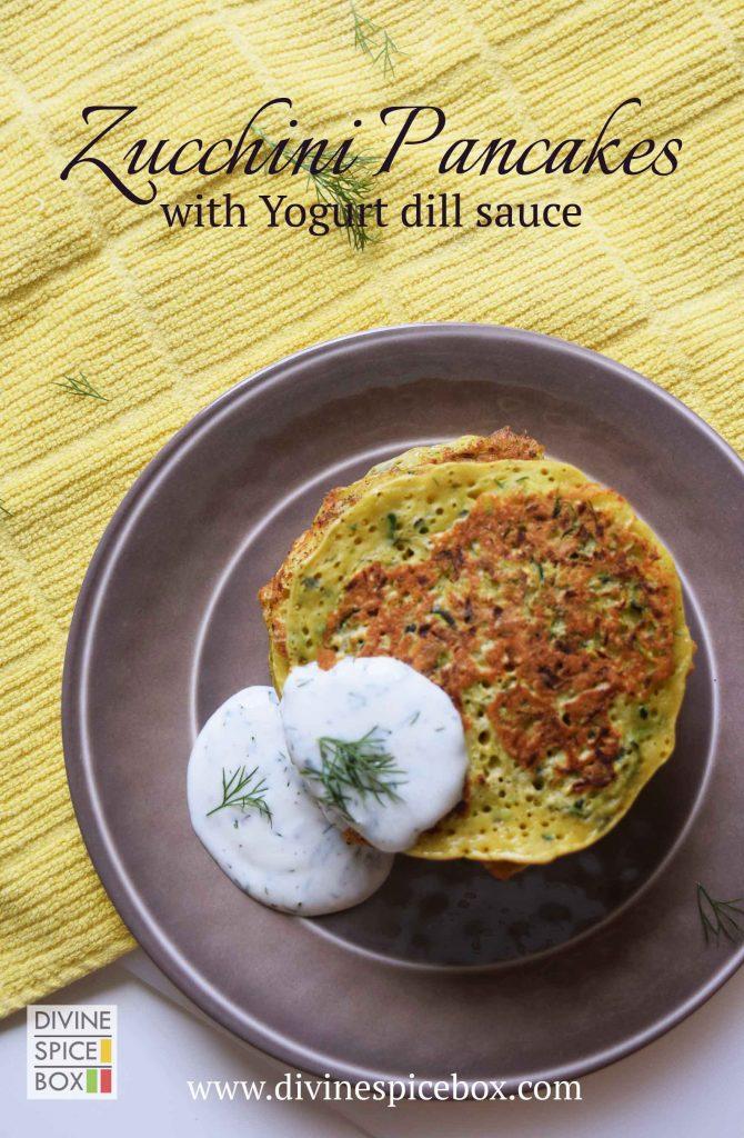 zucchini pancake with dill sauce