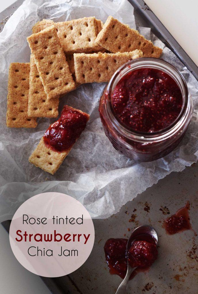 rose tinted strawberry chia jam