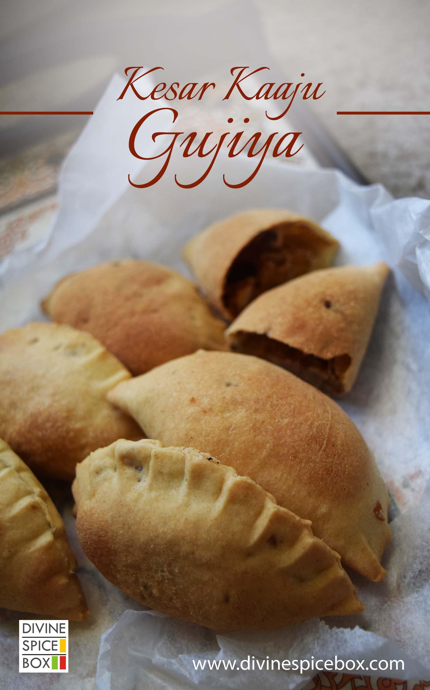 Kesar Kaaaju Gujiya/ Saffrom Cashew fudge stuffed hand pie