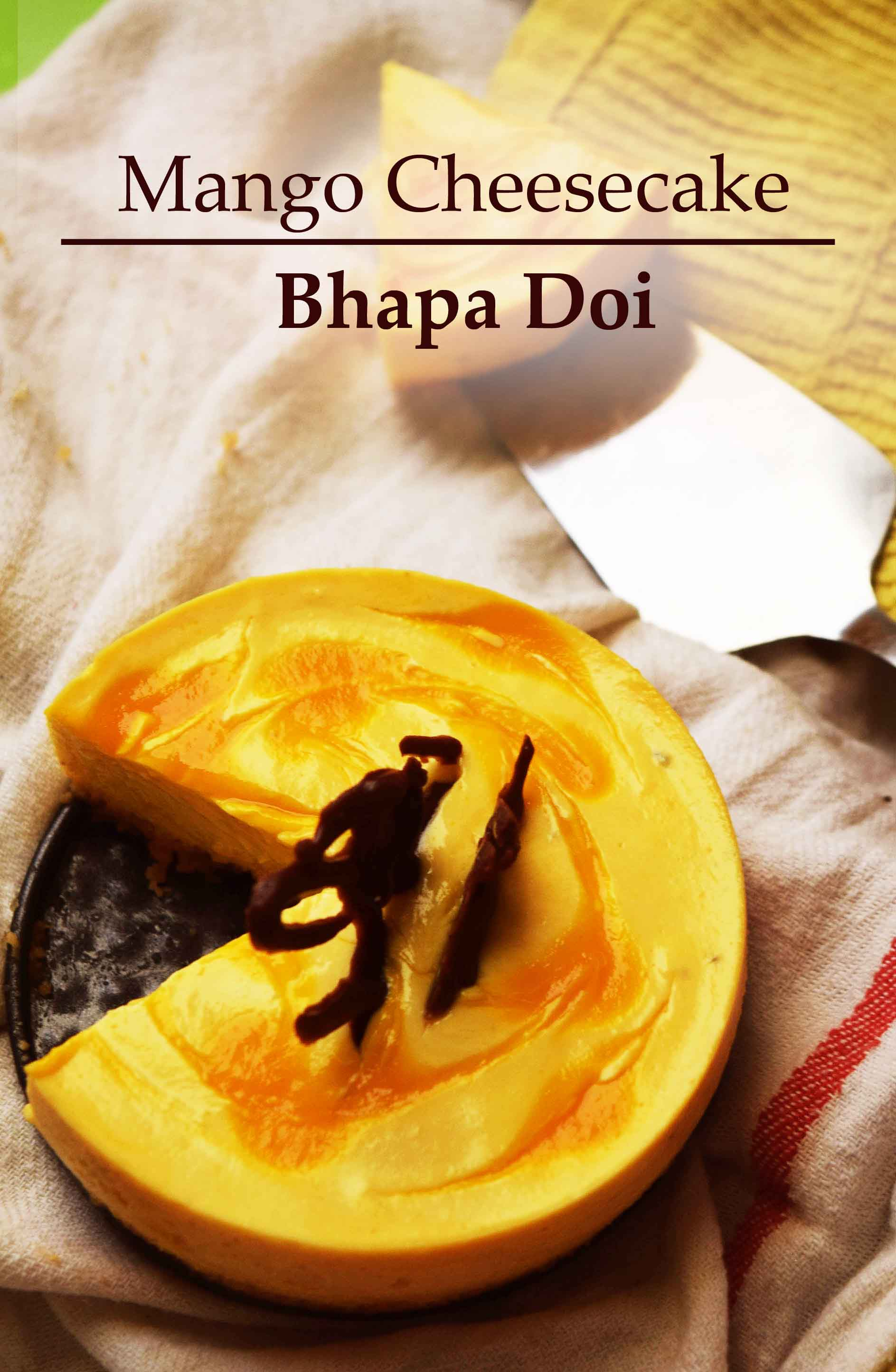 mango cheesecake bhapa doi