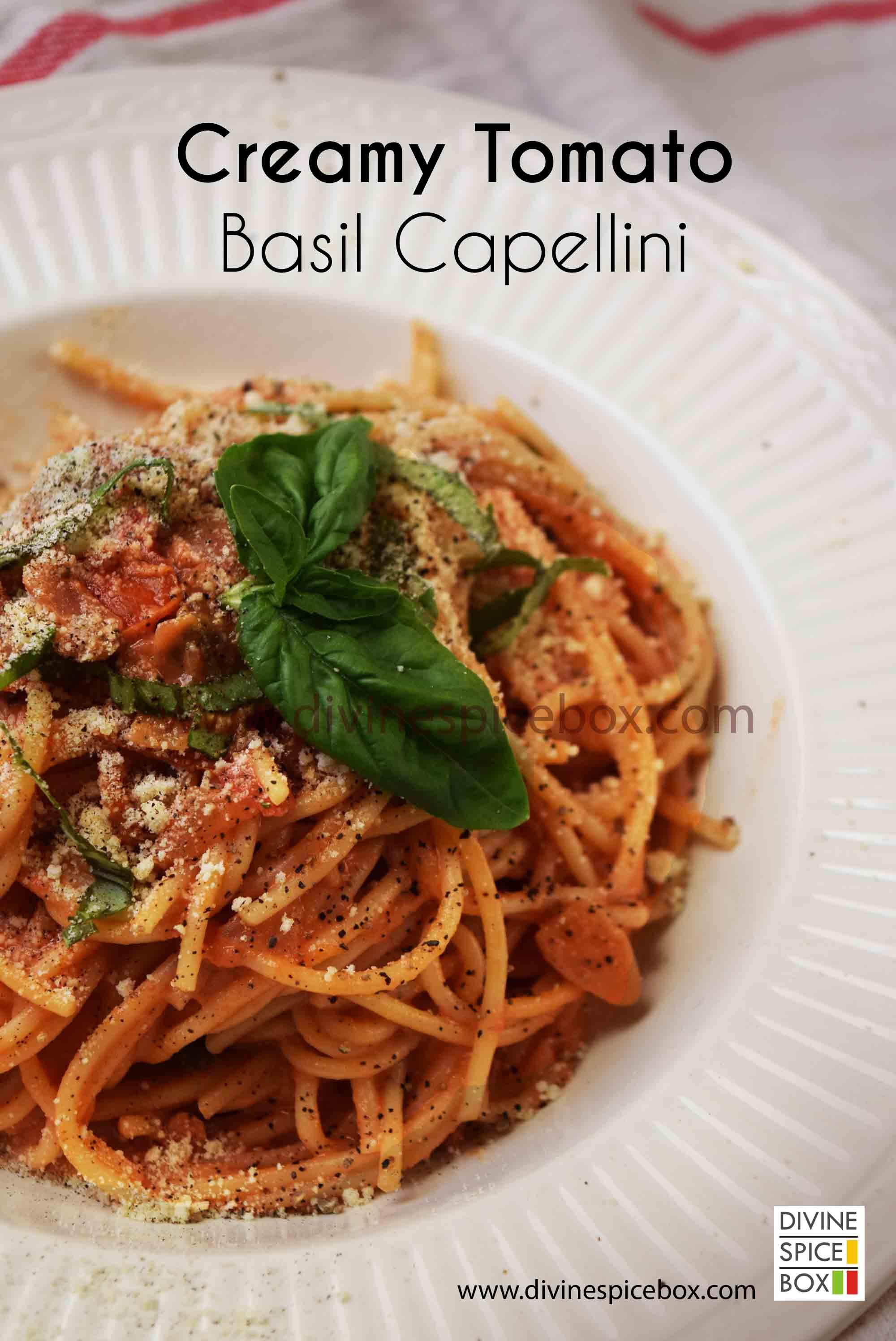 creamy tomato basil capellini