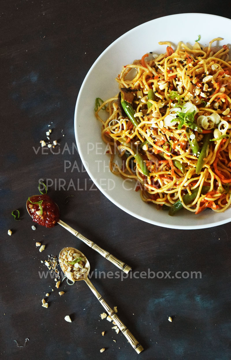Peanut Sauce Pad Thai with Spiralized Carrots