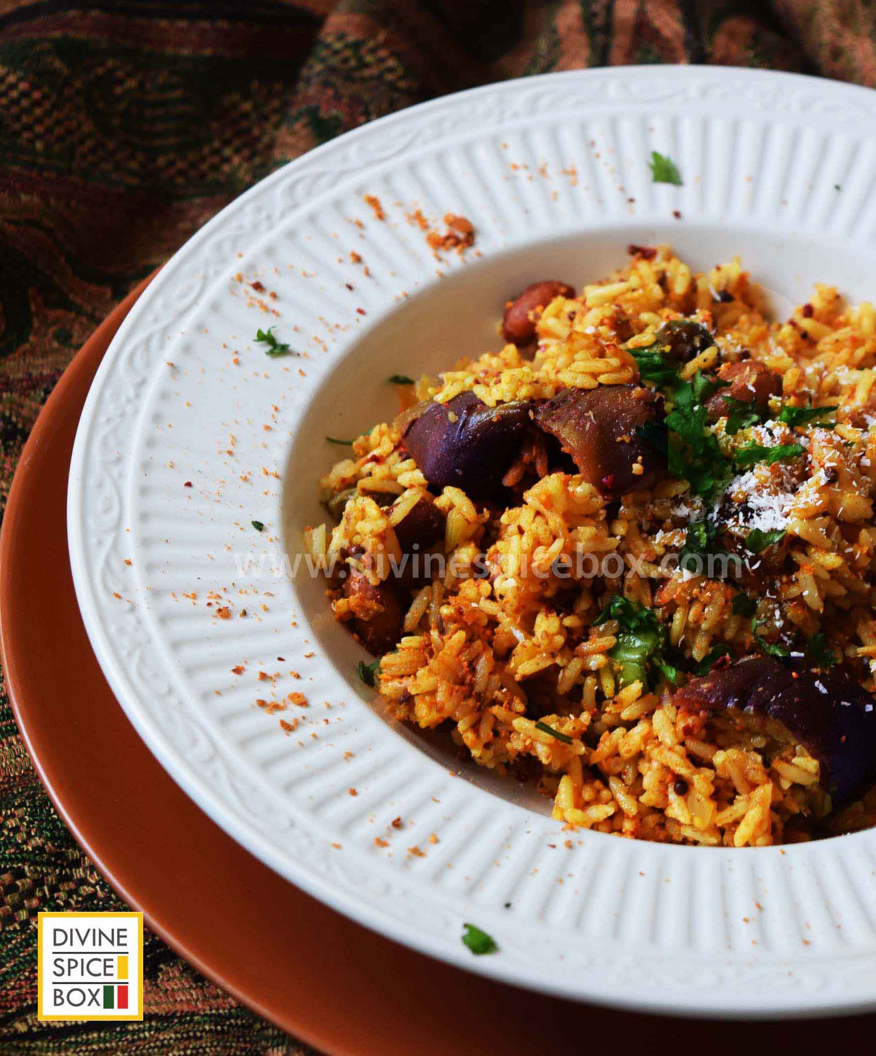 Vaangi Bhaat/ Aubergine rice pilaf with Indian spices